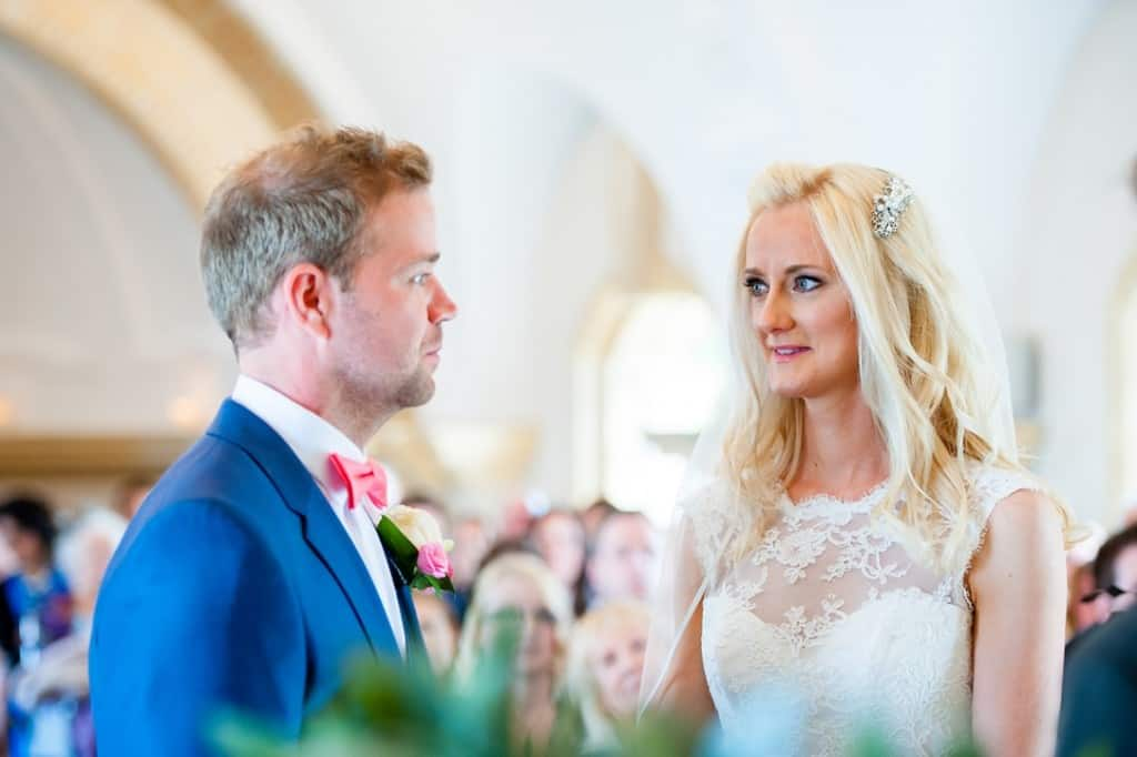 The bride and groom in church