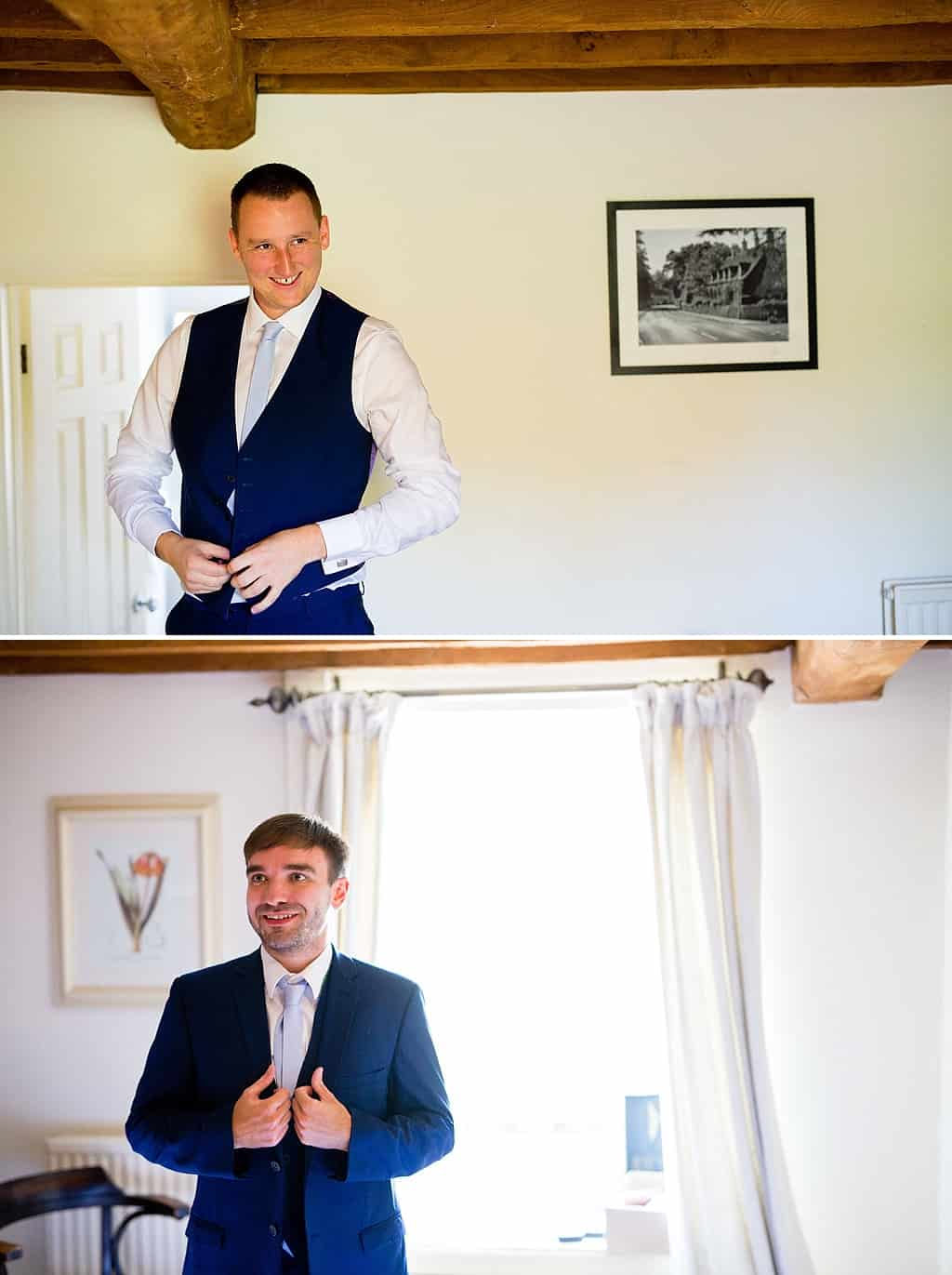 Groom party getting ready in blue suits