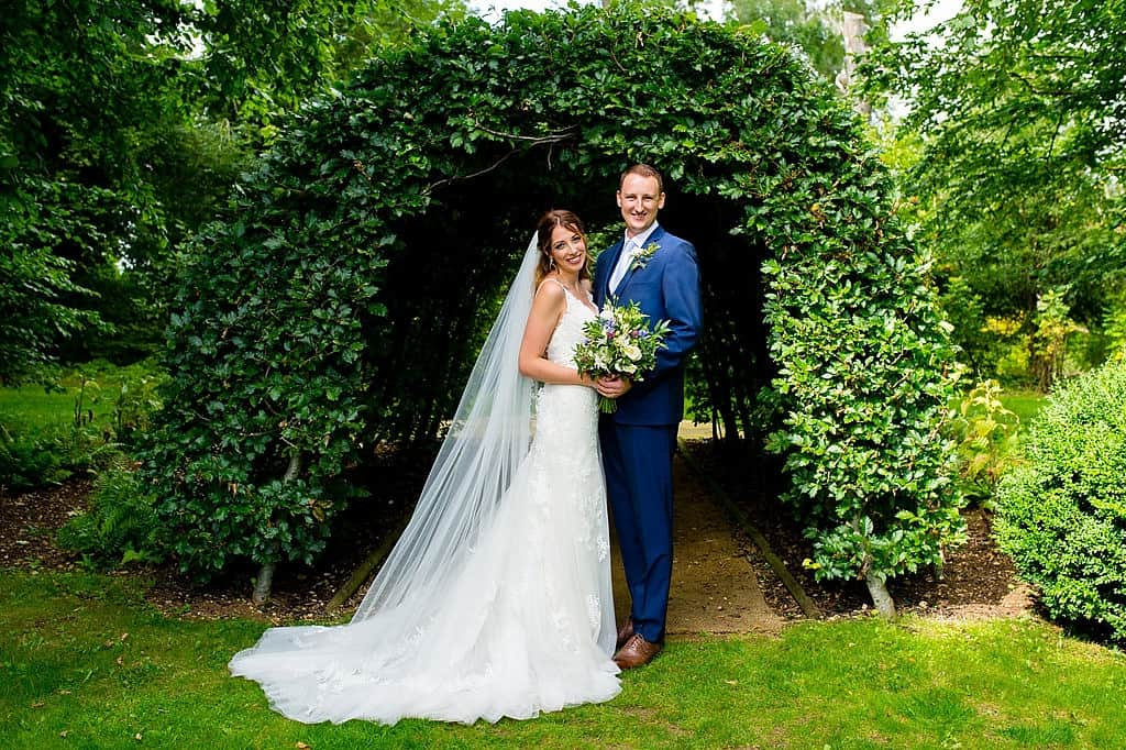 Bride and groom at Cripps Barn