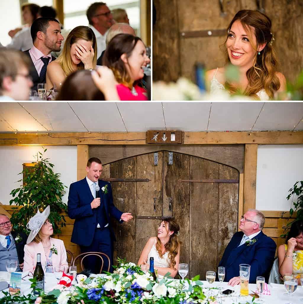 Wedding speeches at Cripps Barn