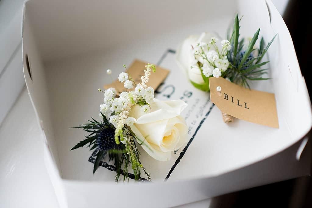 White rose wedding corsage