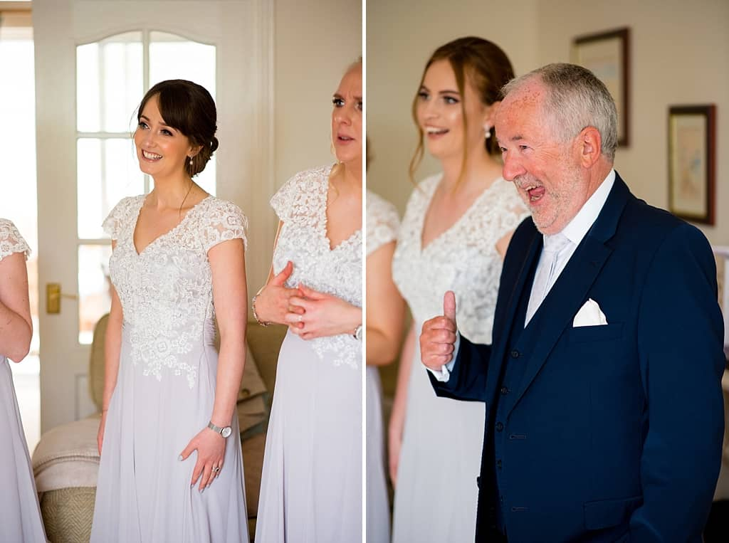 Father of bride seeing bride for the first time