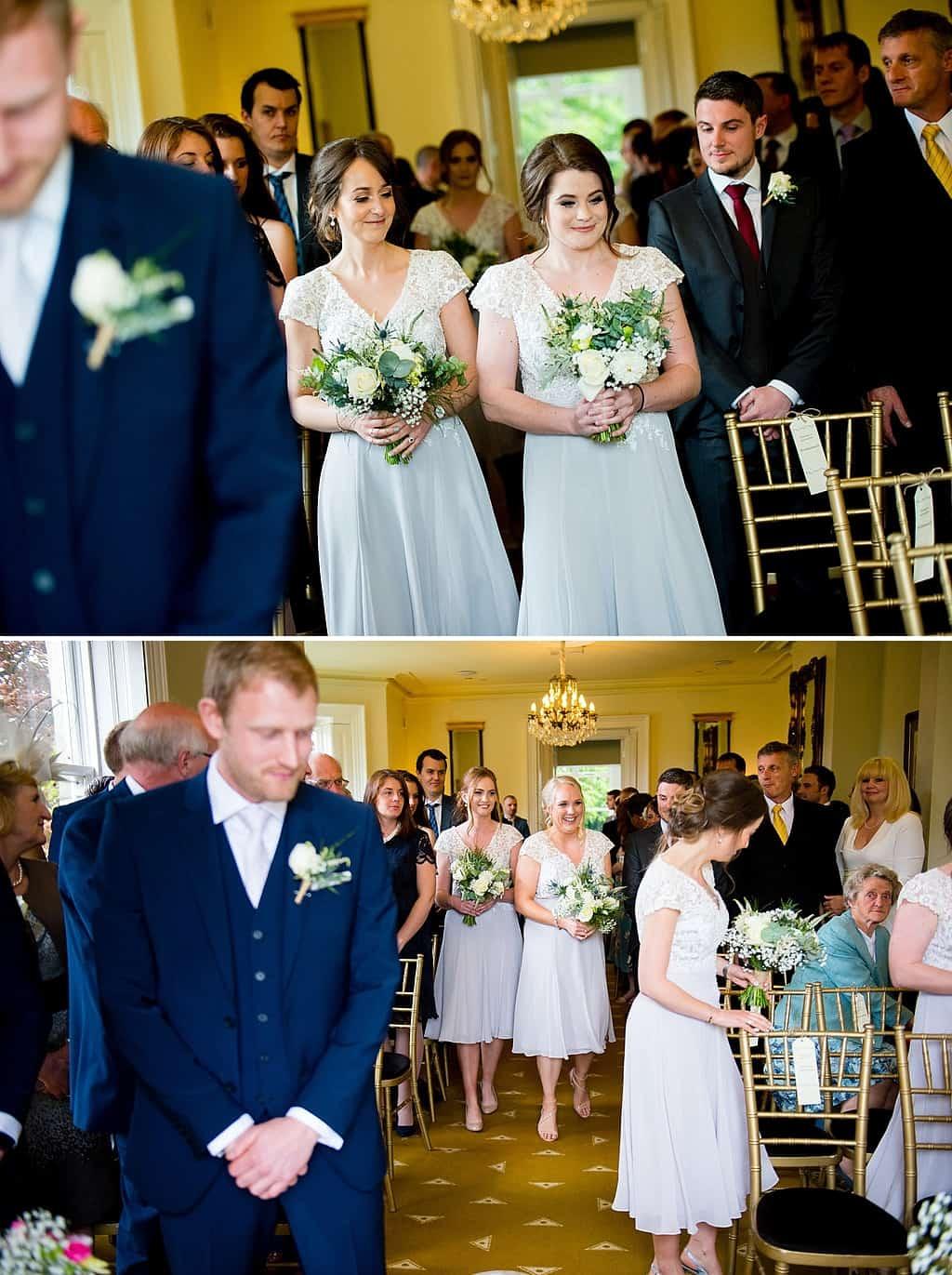 Bridesmaids walking down aisle at Shottle Hall