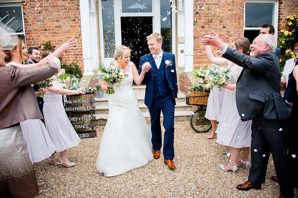 Confetti throw at Shottel Hall wedding