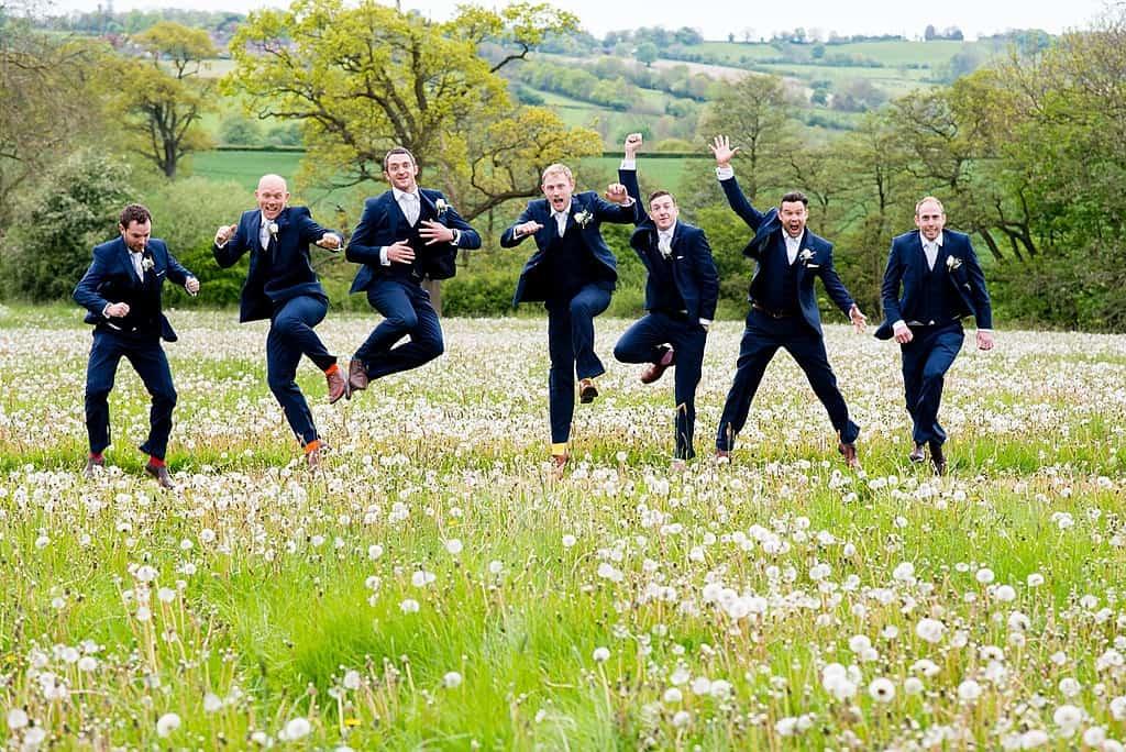Navy suits grooms men at Shottle Hall