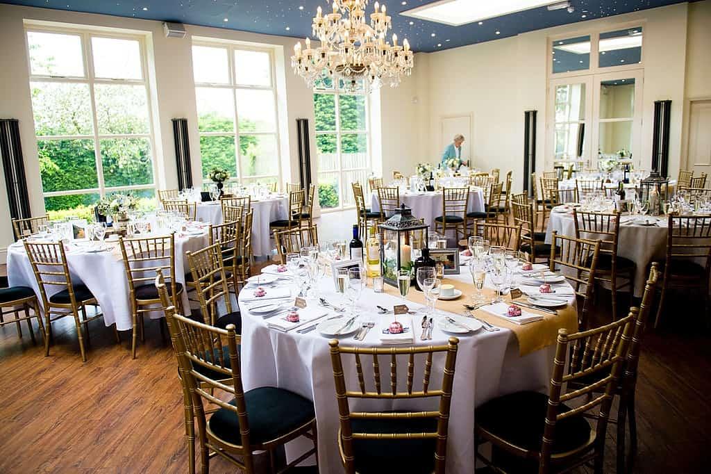 Wedding table details at Shottle Hall