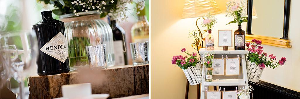 Gin bottle wedding decoration