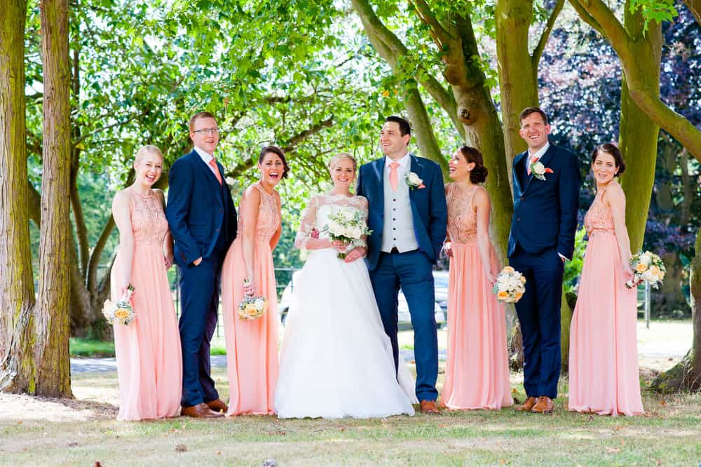 A group shot of the bridal party at a wedding