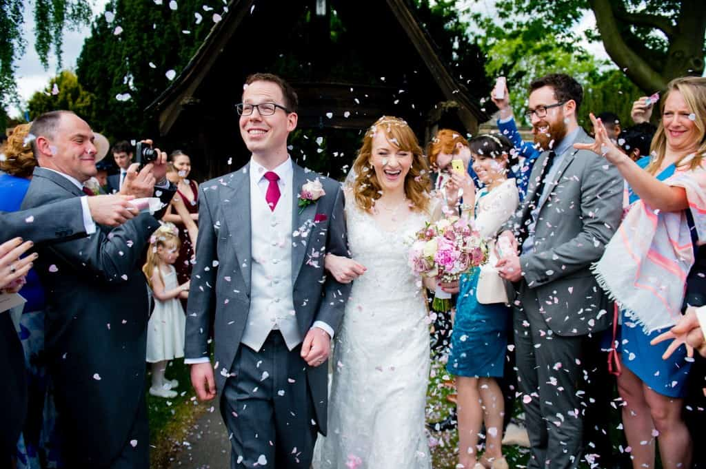 Church confetti photograph at a wedding