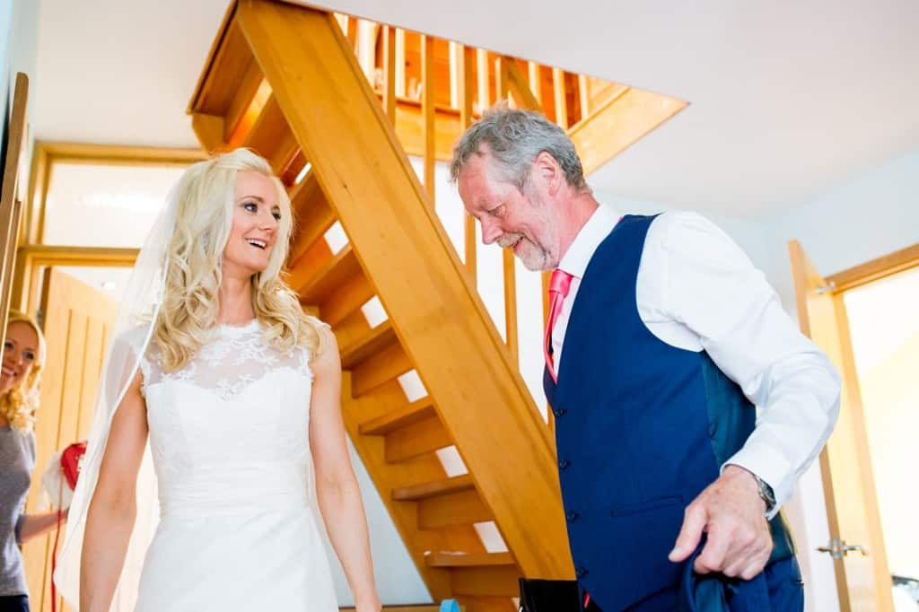 The bride meeting her father
