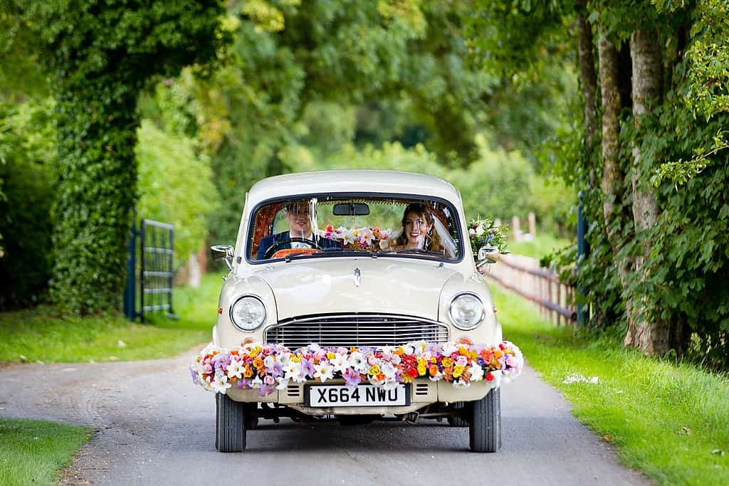 Indian wedding car at Cripps Barn