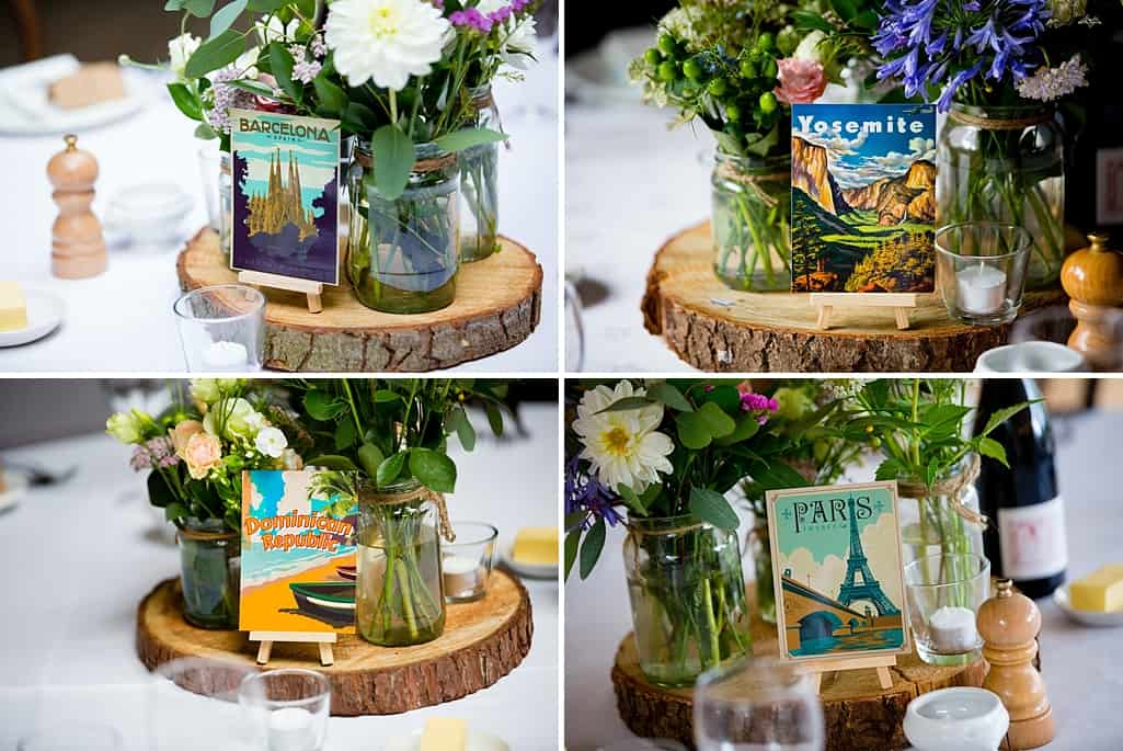 retro travel postcard wedding table decorations