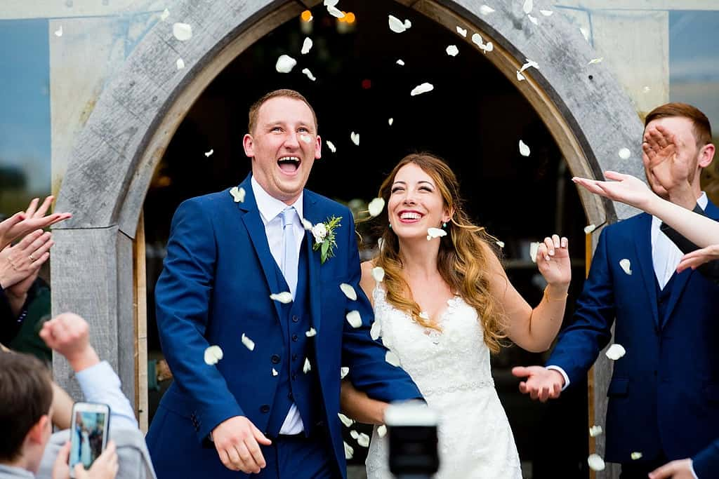 Confetti throw at Cripps Barn