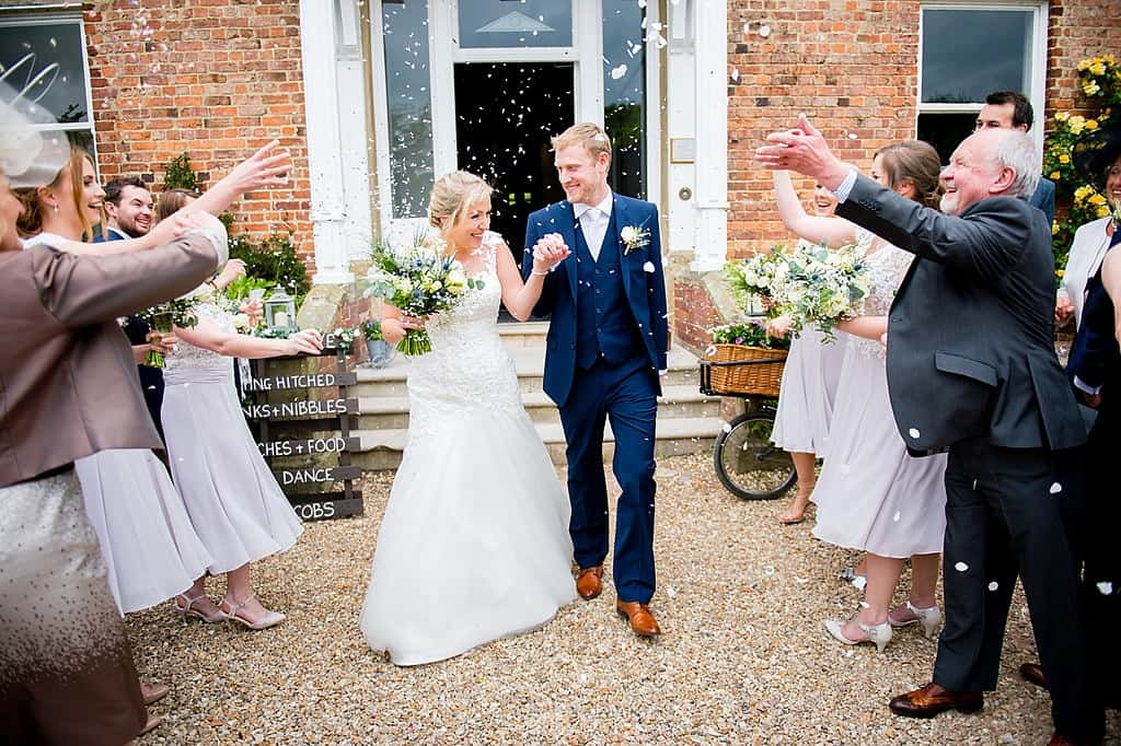 Confetti throw at Shottel Hall wedding