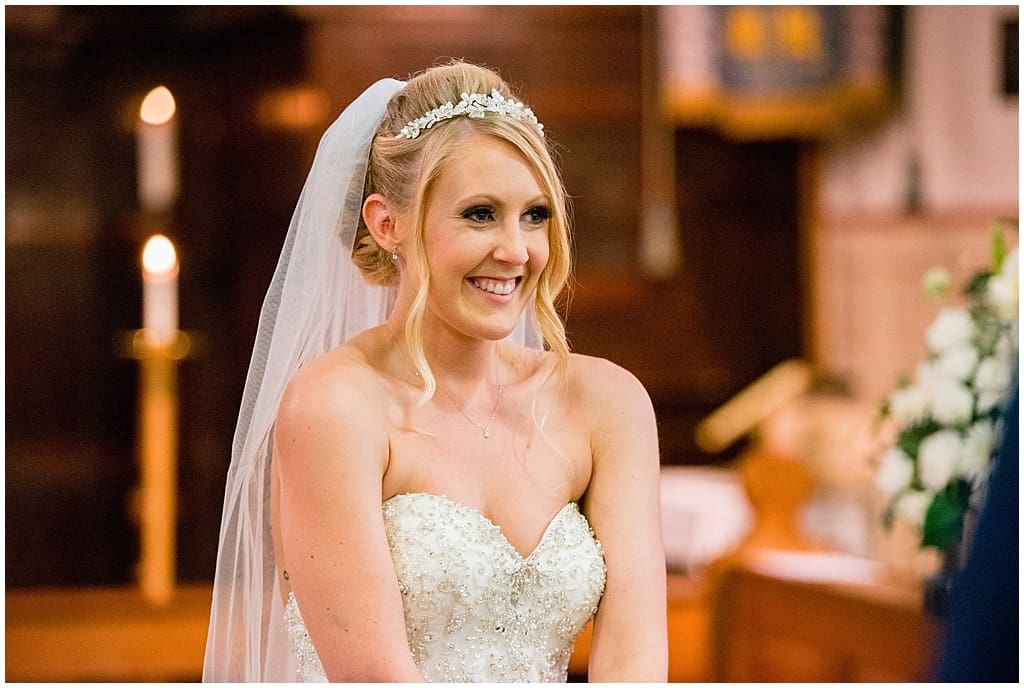 smiling bride in church