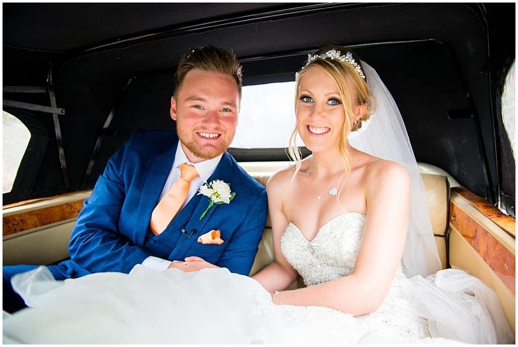 Bride and groom Bentley Wedding car