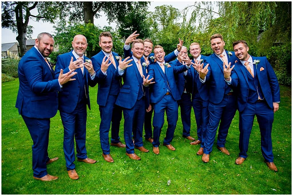 Groomsmen in blue suits