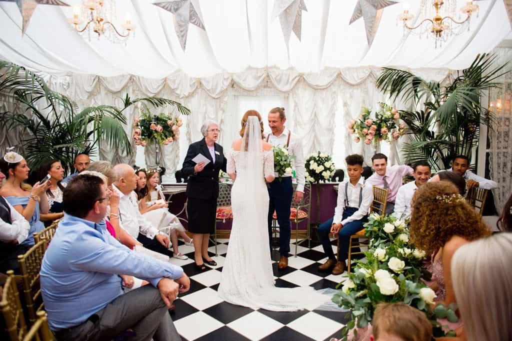 Wedding ceremony at Priory House