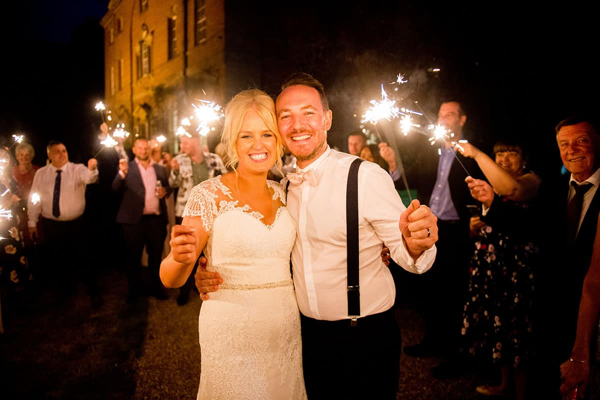 Bride and Groom with sparklers in Nottingham