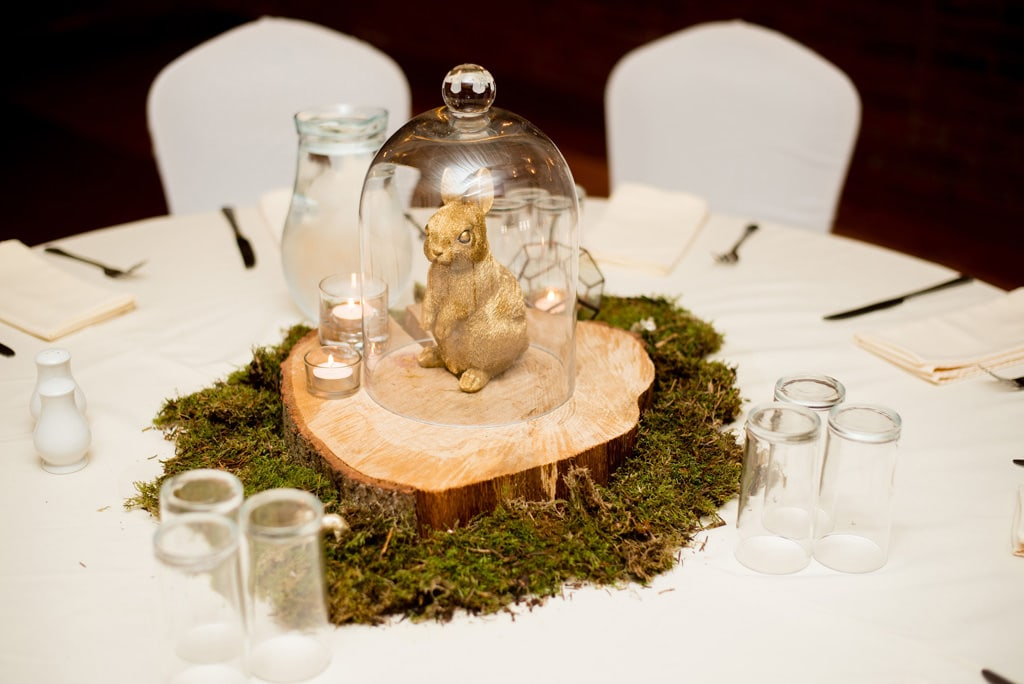 Cloche wedding centrepieces