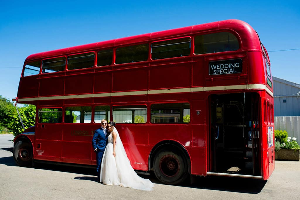Rutland red wedding bus