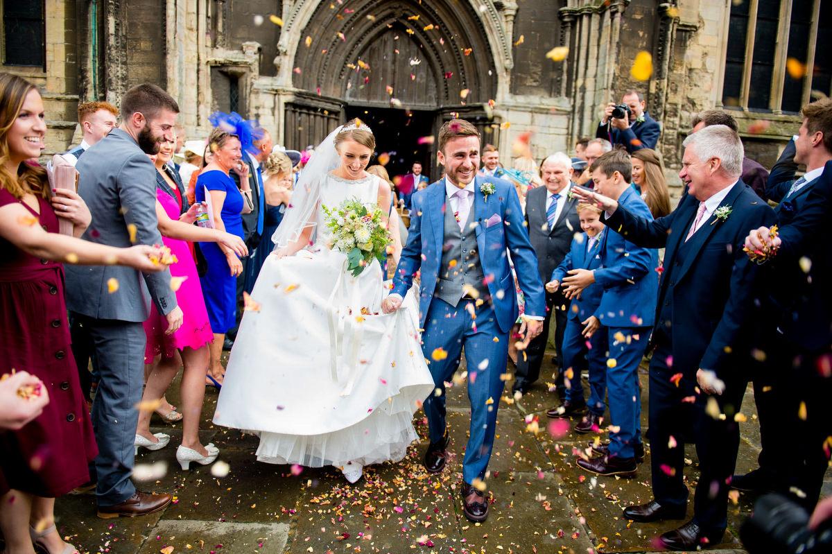 confett photograph at a church at a wedding in Nottingham
